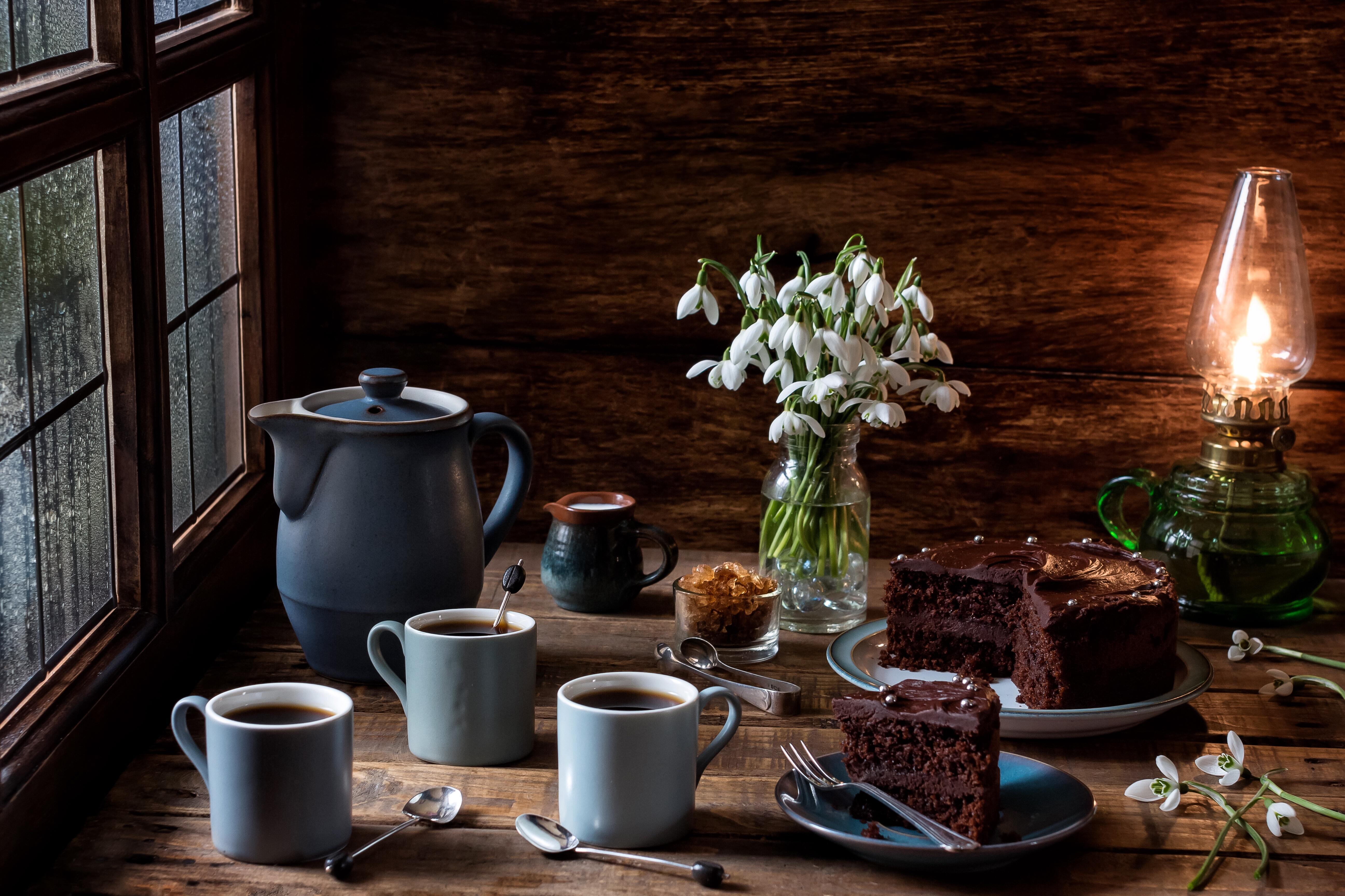 Обои Кружки, шоколад, кекс, кофе