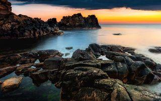 Бесплатные фото побережье,скалы,камни,море,горизонт,небо