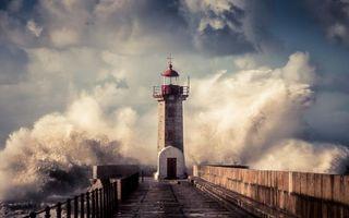 Бесплатные фото Маяк,море,прибой,волны,небо