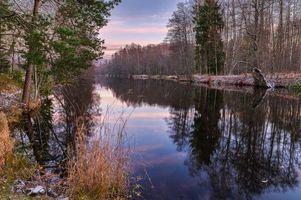 Фото бесплатно осень, закат, водоём
