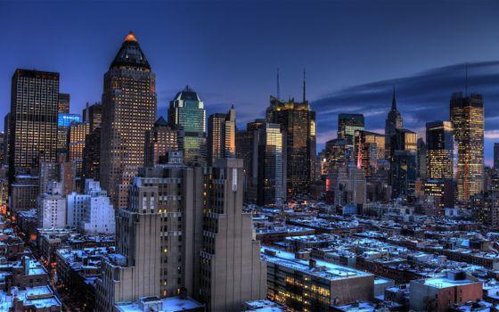 Фото бесплатно утренний Нью-Йорк, восход солнца, небоскребы