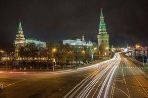Бесплатные фото Москва,Россия,Кремль,ночь,огни,иллюминация