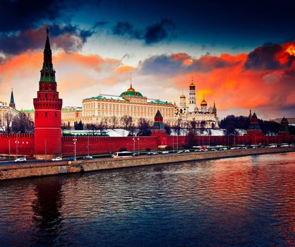 Photo free The Moscow Kremlin, the orange sky, Moscow