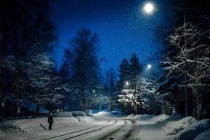 Бесплатные фото зима,снег,дорога,ночь,свет,фонари,пейзаж