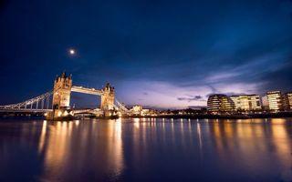Бесплатные фото ночь,Лондон,Темза,река,Тауэрский мост,дома,здания