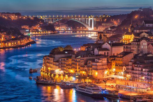 Бесплатные фото Порту,Португалия,город,ночь,огни
