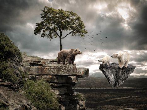 скалы,летающий остров,медведи,фантазия,фантастика
