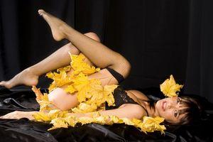 Заставки девушка,красотка,модель,осень,листья,взгляд