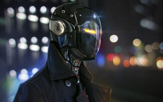Заставки робот, куртка, глаза, стекло, маска