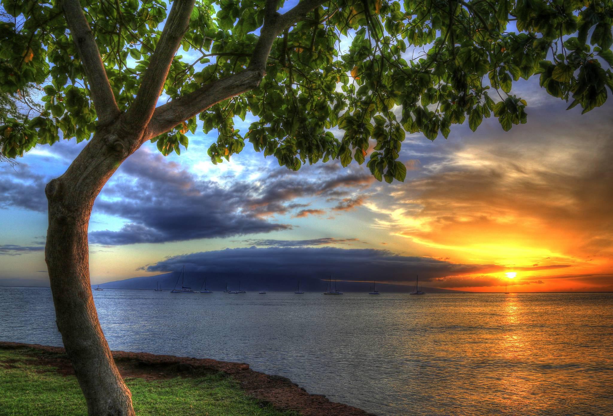Гавайи, США, закат солнца