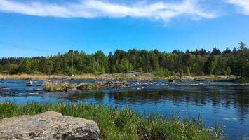 Бесплатные фото Приозерск,небо,речка,трава,берег,Вуокса,река