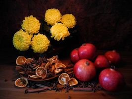 Photo free flowers, pomegranate, fruit