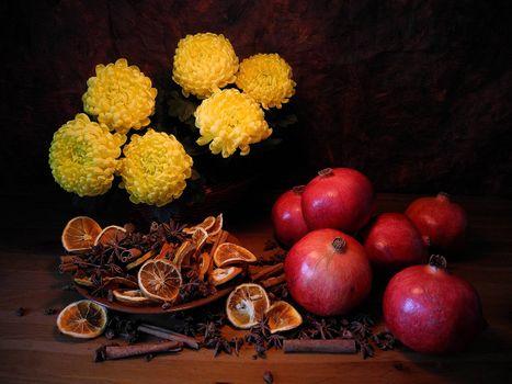 Заставки цветы, гранат, плоды