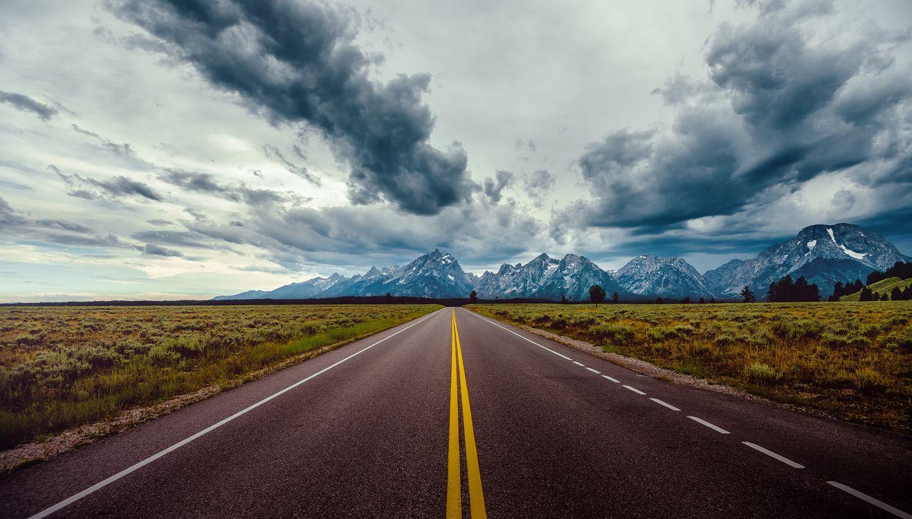 Фото бесплатно Grand Teton National Park, дорога, горы, тучи, пейзаж, пейзажи