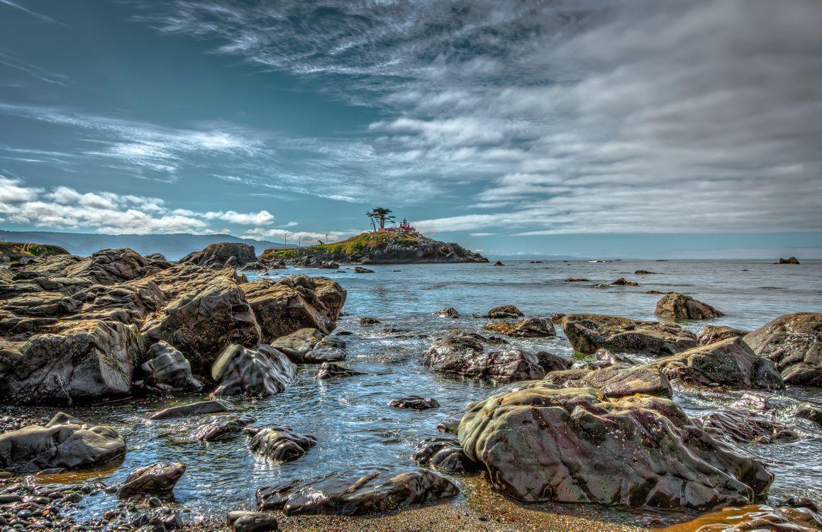 Фото бесплатно Маяк, Калифорния, море, скалы, волны, морской пейзаж, пейзажи