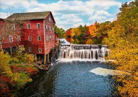 Бесплатные фото Dells Mill,Огаста,Висконсин,водяная мельница,река,осень,деревья