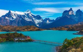 Бесплатные фото Патагония,Торрес-дель-Пайне,Отель,Pehoe,Чили,мост,горы