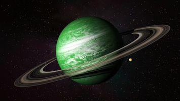 Фото бесплатно планета, зеленая, пояс, космос, звёзды