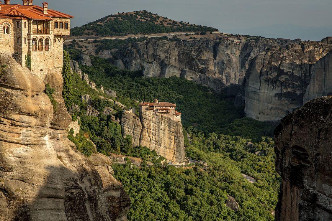 Фото бесплатно Монастырь RousanouSt Варвары, Метеоры, Греция - на рабочий стол