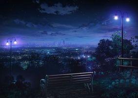 Фото бесплатно живопись, картина, скамейка, фонари, ночь, парк, город
