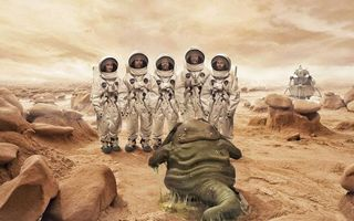 Бесплатные фото космонавты,скафандры,инопланетянин,слизь,корабль,камни