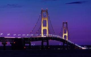 Бесплатные фото ночь,мост,конструкция,фонари,огни,небо