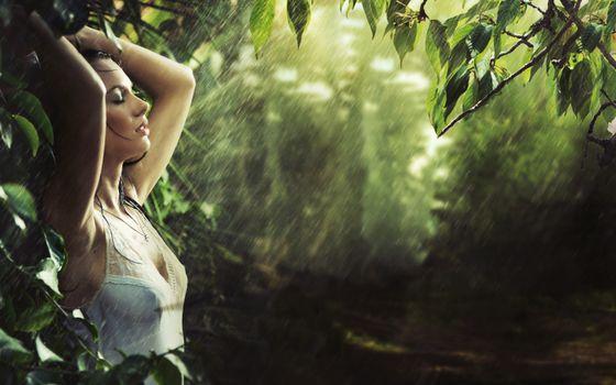 Бесплатные фото джунгли,дождь,девушка