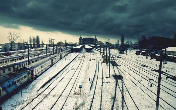 Photo free railway station, rails, tracks