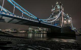 Бесплатные фото ночь,Лондон,река,Тауэрский мост,подсветка,дома,здания
