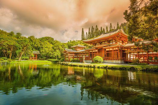 Фото бесплатно особняк в Японии, озеро