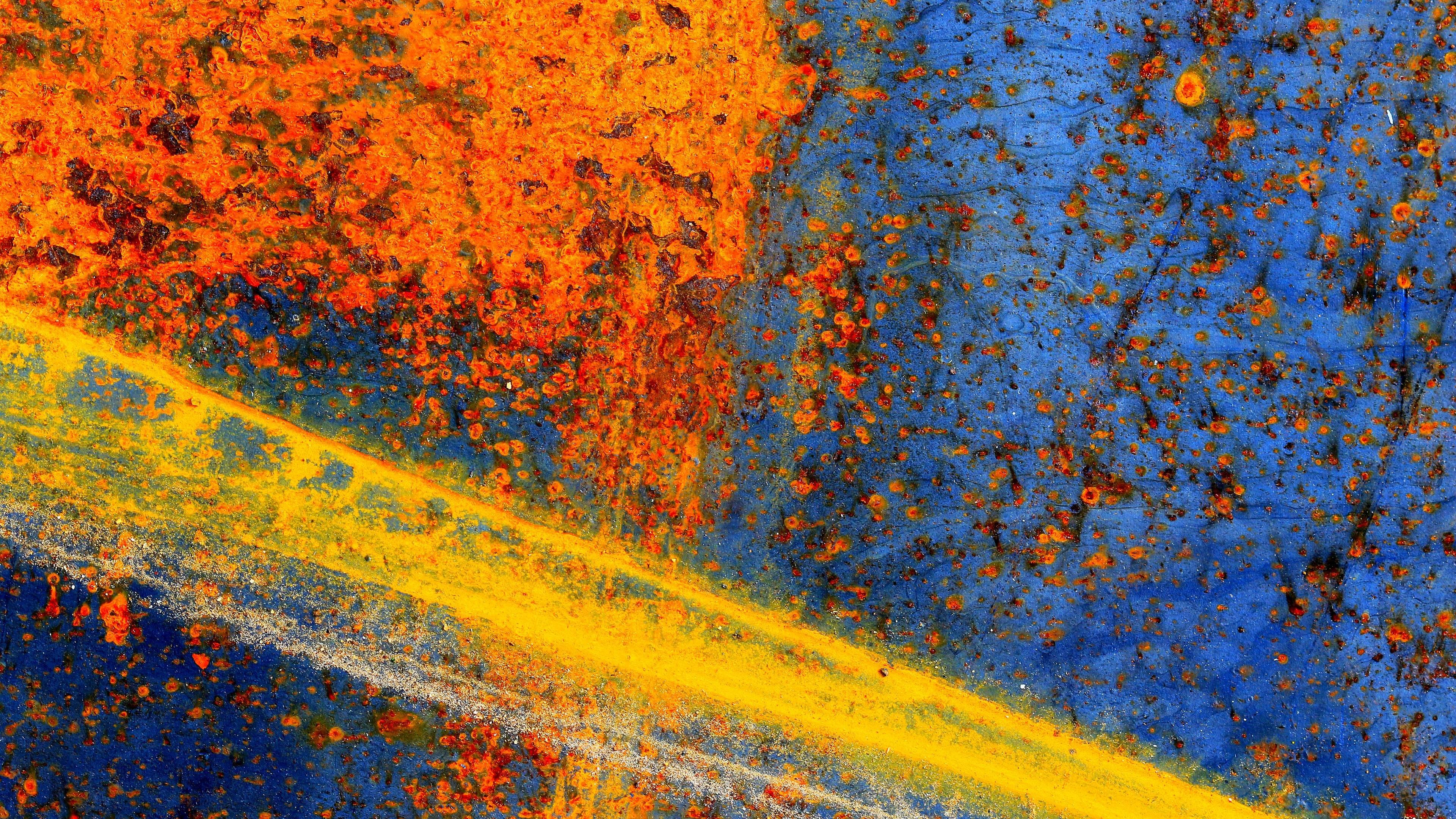 Обои краски, синий, оранжевый, желтый