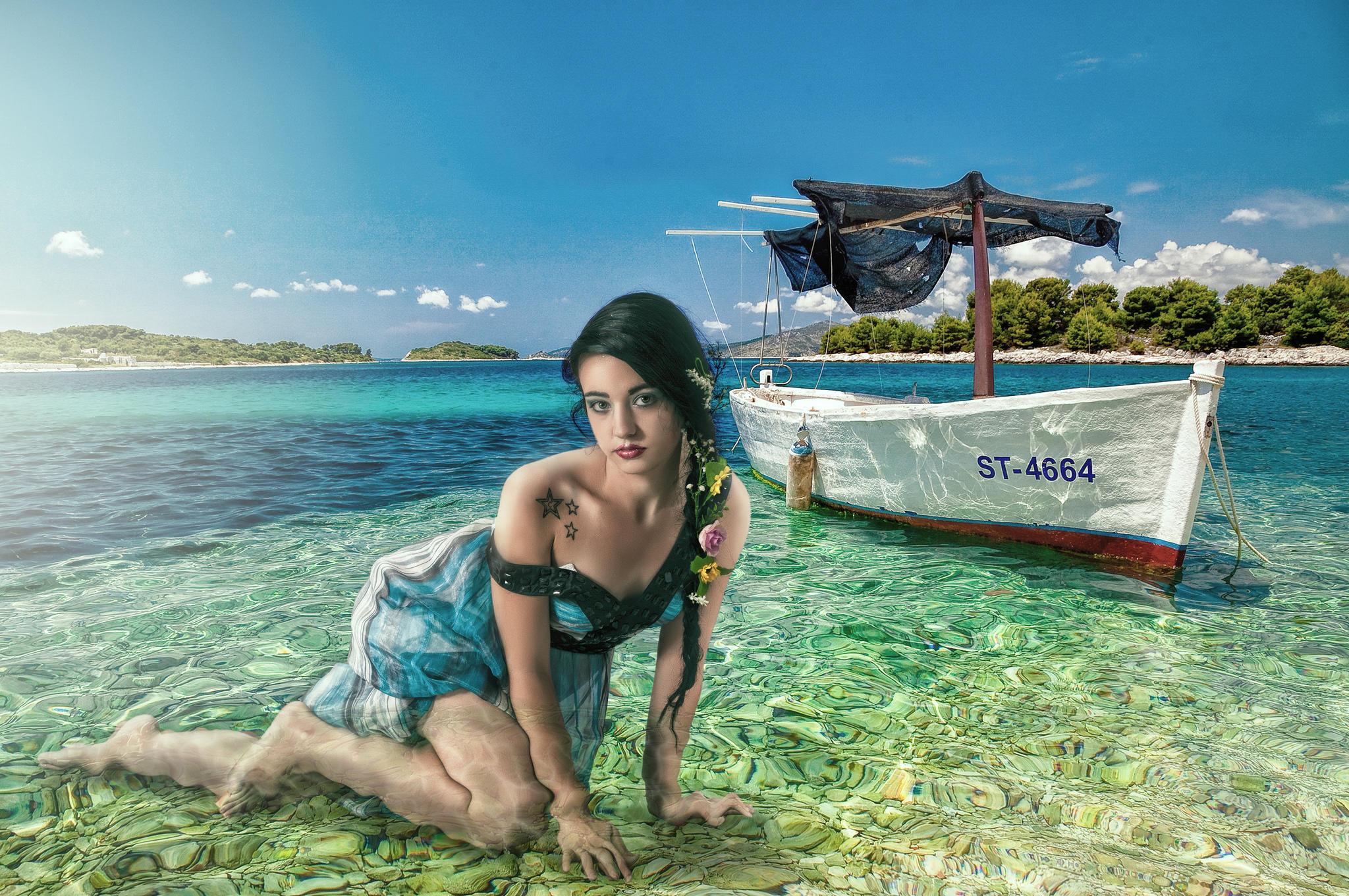 Обои море, девушка, красотка, лодка