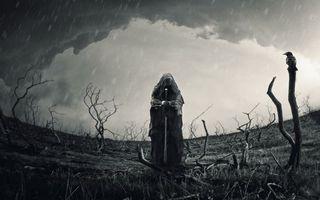 Бесплатные фото Воин,мрачно,меч,роба,поле,человек