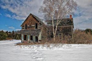 Бесплатные фото зима,поле,дом,руины,снег,пейзаж
