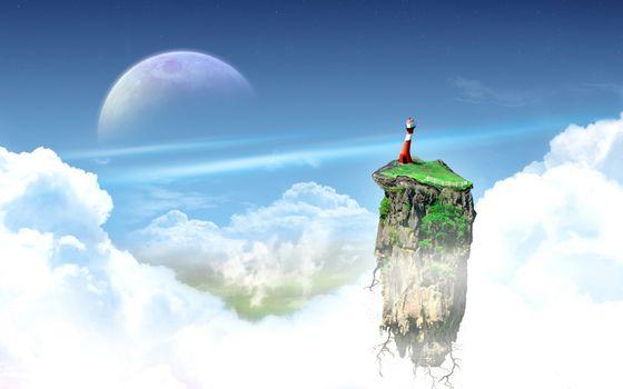 Заставки кусок земли,парит,трава,корни,маяк,небо,облака,планета