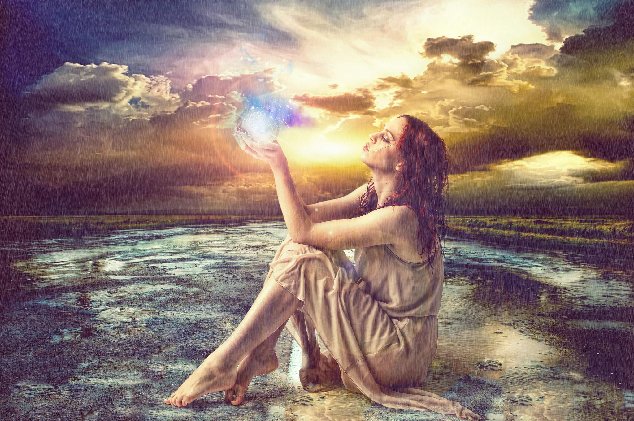 обои закат, дождь, дорога, девушка картинки фото