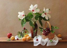 Бесплатные фото абрикосы,виноград,яблоко,цветы,гибискус,корзинка,ваза
