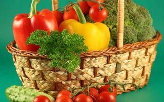 Бесплатные фото корзина,овощи,перцы,помидоры,томат,огурец,петрушка