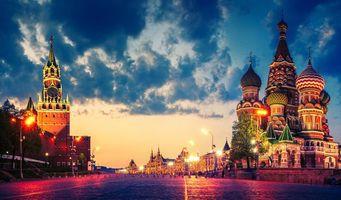 Бесплатные фото Москва,Россия,Кремль,ночь,огни,иллюминация,Храм Василия Блаженного
