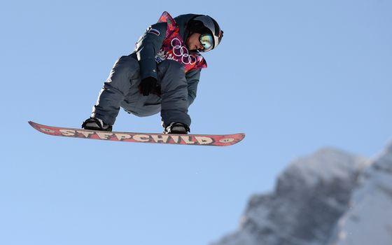 Photo free snowboard, athlete, helmet