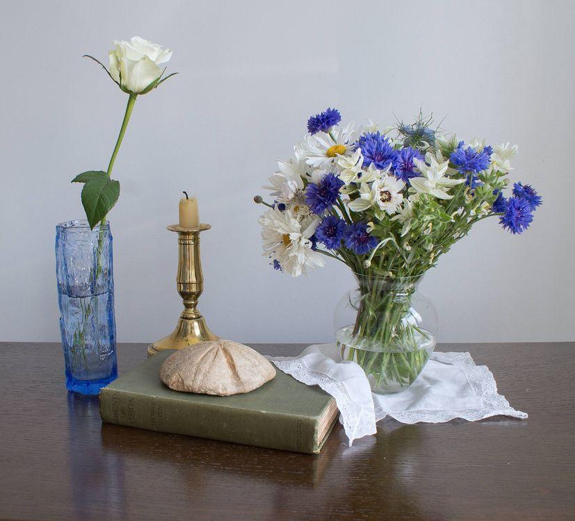 Фото бесплатно книга, ваза, цветы, букет, свеча, натюрморт, разное