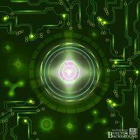 Процессор и микросхема на зеленом фоне