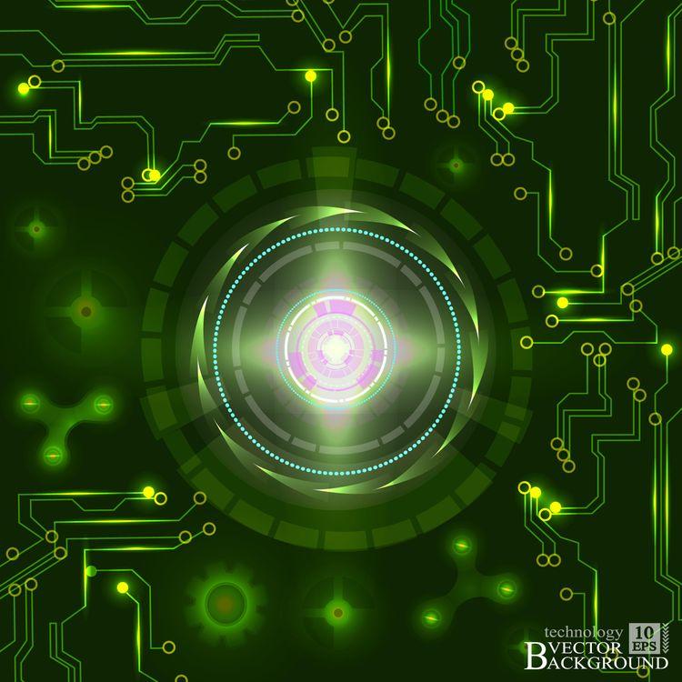 Процессор и микросхема на зеленом фоне · бесплатное фото