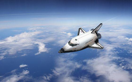 Фото бесплатно космический шаттл, атмосфера, облака