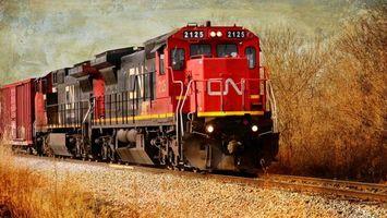 Бесплатные фото поезд,локомотив,вагоны,железная дорога,рельсы,насыпь,деревья