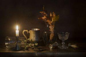 Бесплатные фото стакан,фужер,свеча,натюрморт