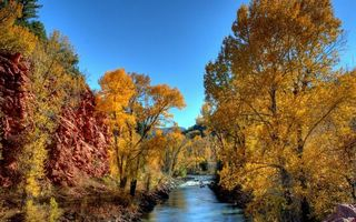Заставки осень, река, течение
