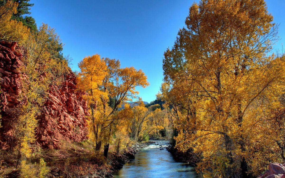 Фото бесплатно осень, река, течение, камни, деревья, листва, горы, природа