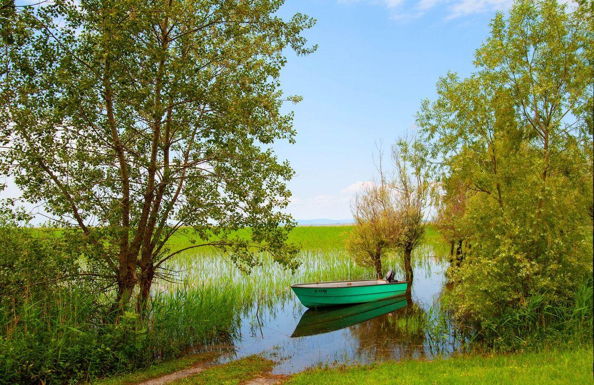 Фото бесплатно Форарльберг, Австрия, река, берег, лодка, деревья, природа, пейзажи