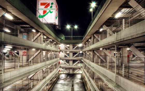 Фото бесплатно ночь, парковка, этажи